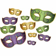 Mardi Gras Masks Cutouts 11pk