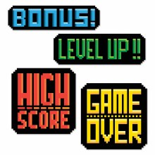 8-BIT Action Video Game Signs