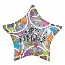 "18"" Prismatic Star Happy Birthday"
