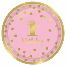 First Birthday Girl 7in Plate 8ct