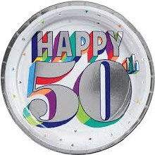 Happy 50th Birthday 7in Plate 8ct