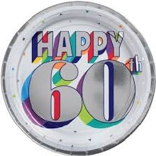 Happy 60th Birthday 7in Plate 8ct