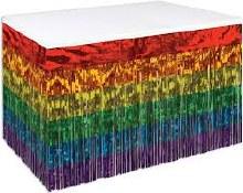 Tableskirt Fringe Foil Rainbow