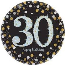 Sparkling 30th 9in Plate 8ct