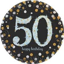 Sparkling 50th 9in Plate 8ct
