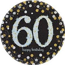Sparkling 60th 9in Plate 8ct