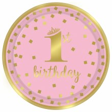 First Birthday Girl 9in Plates 8ct