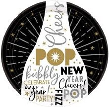"""Happy New Year Champagne 9"""" Plates"""