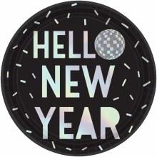 Hello New Year Disco Ball Plate