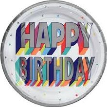 Happy Birthday 9in Plates 8ct