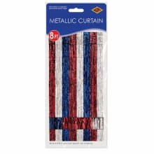 "Metallic Door Curtain Red/White/Blue ~ 36"" x 8'"