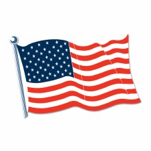 Cutout Flag American 18in