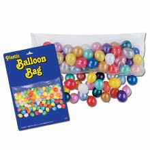 "Balloon Drop Bag Kit - Includes Bag & 100 6"" Balloons in a Rainbow Assortment"