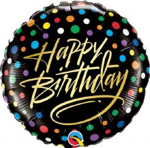 Happy Birthday Dots w/ Gold Script ~ 18""