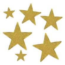 Glittered Star Cutouts Gold
