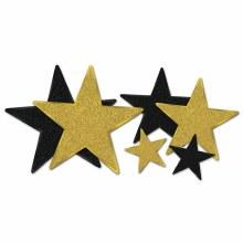 Glittered Star Cutouts Gld/Blk