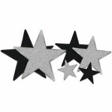 Glittered Star Cutouts Slv/Blk