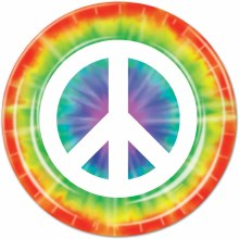 Peace Sign 7in Plate 8ct