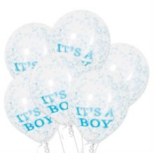 """It's A Boy 12"""" Latex w/ Confetti Bundle ~ 6 Balloons (ONLY LAST THE DAY OF PICK UP)"""