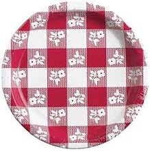 Red Gingham 9in Plate