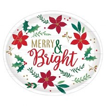"""Christmas Wishes Heavy Duty Buffet Plates ~ 8 Pack/12"""""""