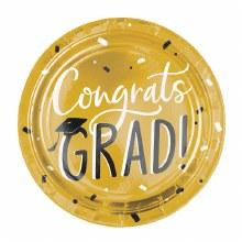 Congrats Grad 10.5in Gold Plates 8ct