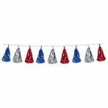 Tassel Garland Red/Silver/Blue