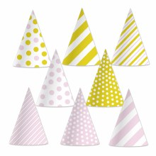 Cone Hat Pink & Gold 8pk