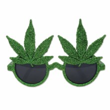 Glasses Pot Leaf Glitter