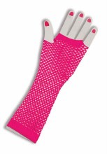 Glove Fishnet Long Pink