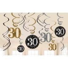 Sparkling 30th Swirl Decor 12pc