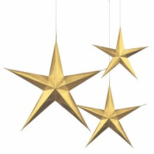 Star Hanging Gold 3pk