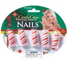 Candy Cane Press On Nails