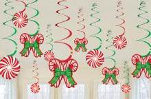Candy Cane Hanging Swirls ~ 12 Pack