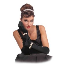 Gloves Long w/ Pearls Black