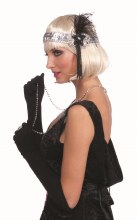 Headband Flapper Slvr,Blk Bead