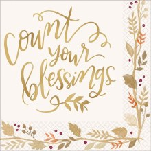 Count Your Blessing Beverage Napkin ~ 36 Pack