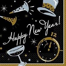 New Years Black Tie Beverage Napkins