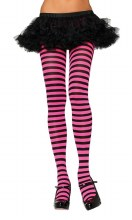 Tights Striped Blk/Pink Neon