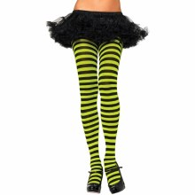 Tights Striped Blk/Lime Neon