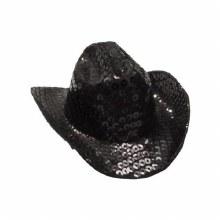 Hat Cowboy Blk Sequin Mini