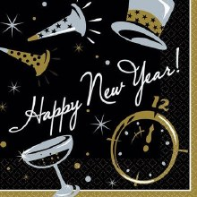 New Years Black Tie Lunch Napkins 100ct