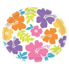 Hibiscus White Oval Plates