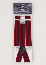 Suspenders Red Black Stripes