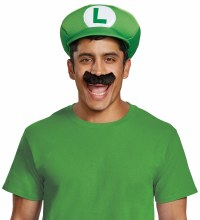 Luigi Hat w/ Moustache Adlt