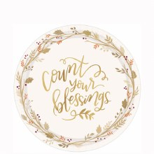 """Count Your Blessings 7"""" Plates ~ 18 Pack"""