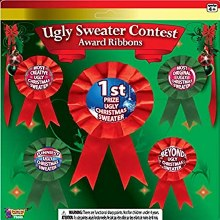 Ugly Sweater Contest Ribbons ~ 5 Pack