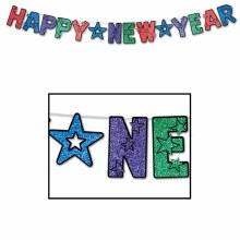 Happy New Year Banner Rainbow Glitter