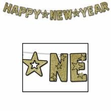 Happy New Year Banner Gold Glitter