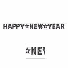 Happy New Year Banner Black Glitter